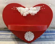 Up-cycled Shabby Chic Hand Painted Red Heart by JAMsCraftCloset