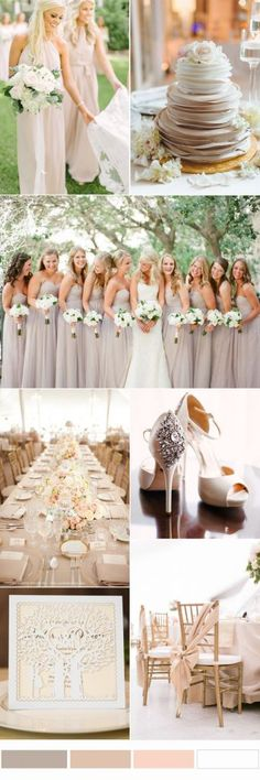 Elegant Neutral Wedding Color Ideas and Matched Wedding Invitations