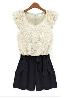 Nova moda Lace White Party Evening Macacão Shorts geral para 4 Tamanho