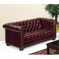 Chesterfield Traditional Leather Reception Room Loveseat Black Leather/Mahogany Frame