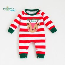 Winter Cartoon Christmas Deer Baby Rompers Stripe Warm Thick Long Sleeve Jumpsuits Newborn Boys Girls Clothes Kids Outerwear(China (Mainland))