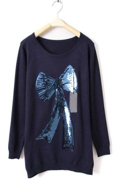 Navy Long Sleeve Bow Print Sequined Sweater - Sheinside.com