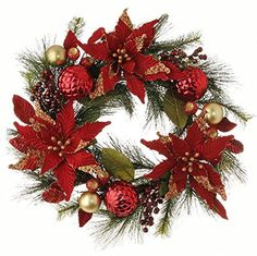 This large wreath is absolutely fabulous! The Red Velvet Poinsettias petals are dipped in gold beads and sequins, there are berries and glorious Christmas tree ornaments adorning them. Your front door