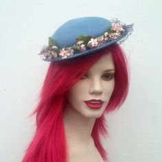 Vintage 1950's Small Round Slate Blue Straw Hat, Pink Flowers, Green Leaves, Small Brim With Netting, Tea Party, Bridal Shower, Retro Spring by VintageDoylestown on Etsy