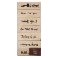 Recollections Wood Stamp, Greetings Set