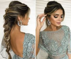 Thassia Naves de vestido Zuhair Murad azul para o casamento de Marina Ruy Barbosa - penteado trança by Jr Mendes - inspiração de look para madrinha e convidada Bridal Braids, Bridal Hair, Messy Hairstyles, Elegant Hairstyles, Pretty Hairstyles, Wedding Hairstyles, Wedding Hair And Makeup, Wedding Beauty, Zuhair Murad