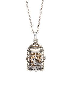 Two-Tone Caged-Ball Pendant Necklace
