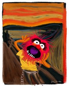 the scream- edvard munch The Muppets, The Muppet Show, Jim Henson, Edvard Munch, Scream Parody, Le Cri, Chesire Cat, Fraggle Rock, Famous Artwork