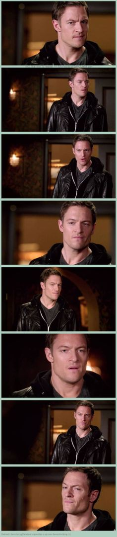 "9x22 Stairway To Heaven - ""Gadreel's face during Metatron's speeches is my new favourite thing."" - Such intense looks of barely withheld disgust shouldn't effect me the way they do.  Tahmoh Penikett though!"
