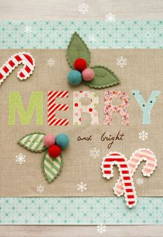"""Merry and Bright"" cute decorated sign Xmas. Christmas Sewing, Noel Christmas, All Things Christmas, Winter Christmas, Handmade Christmas, Christmas Ornaments, Christmas Pillow, Christmas Colors, Karten Diy"