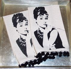 Taupe Natural Cotton hand towel or tea towel with black Audrey Hepburn screen print and decorative trim. $14.00, via Etsy.