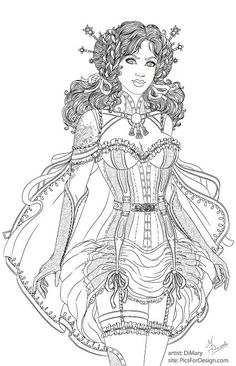 Steampunk: Brave Lily line by dimary Dragon Coloring Page, Fairy Coloring Pages, Adult Coloring Book Pages, Printable Adult Coloring Pages, Coloring Pages To Print, Coloring Books, Free Adult Coloring, Chibi, Girly