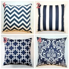 Premier Prints Navy Blue Pillow Cover- 14x14 inches- Hidden Zipper Closure- You Choose. $14.95, via Etsy.