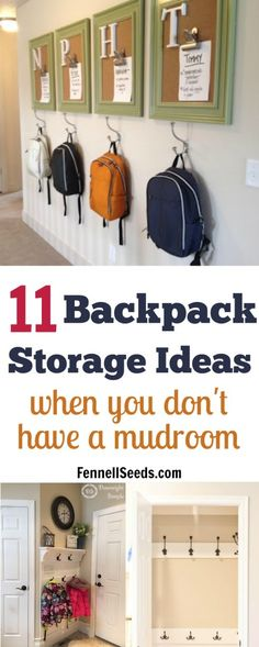 Backpack storage | Backpack storage ideas | Coat storage | Coat rack | coat hook | backpack hook | place for backpacks | mudroom organization | mudroom ideas