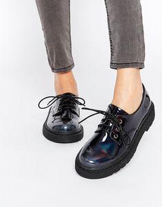 Image 1 - London Rebel - Chaussures plates épaisses à lacets