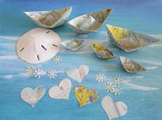 Sailor Wedding paper sail boats heart flowers by shredlock on Etsy