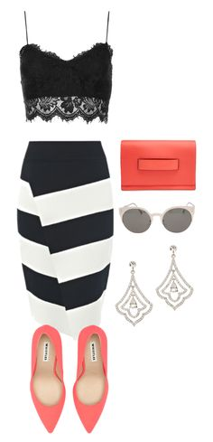 Black, white + coral