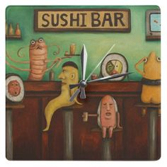 Sushi Bar Round Clocks, These have been really popular lately with my Sushi Bar Painting.