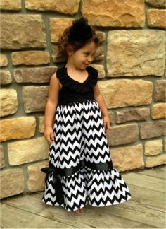 Girls Easter Dress - Toddlers Chevron Print Dress - Little Girls Long Dress. Black Chevron Print by AdalynsBoutique, $32.99