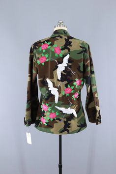 Vintage US Army Embroidered Camo Jacket / Flying Asian Cranes Birds Peony Floral Embroidery   #embroidery #embroidered #camo #jacket