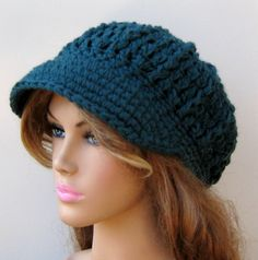 Antique Teal Visor City  Cap Newsboy Beanie by PurpleSageDesignz, $ 22.00