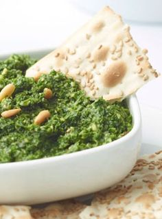 Garlicky Kale and Spinach Dip. #recipe #healthy