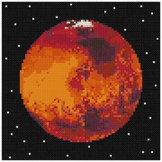 PDF Cross Stitch pattern  0054.Mars planet  INSTANT DOWNLOAD