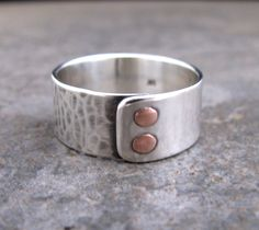 Men's Double Copper Riveted Sterling Silver Ring.