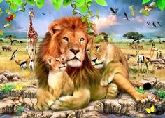 Shop for Happy Lion Family Diamond Painting Kit at Pretty Neat Creative with ✅ Softest canvas, Sparkliest beads ✅ Most Durable Package ✅ WARRANTY. Big Cats Art, Cat Art, Peacock Wall Art, Lion Family, Lion Wallpaper, Animal Projects, Jungle Animals, Wildlife Art, Beautiful Cats