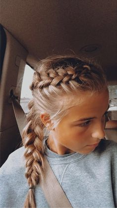 Running Hairstyles, Athletic Hairstyles, Sporty Hairstyles, Braided Ponytail Hairstyles, French Braid To Ponytail, Cute Volleyball Hairstyles, Cute Hairstyles For Teens, Pretty Hairstyles, Volleyball Braids