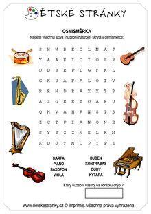 osmisměrka pro děti - Hledat Googlem Elementary Education, Music Education, Music Charts, Learn German, Piano Music, New Music, Free Printables, Classroom, Learning