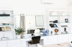 Inspired by a beauty boutique, this custom, built-in counter and vanity is the dream of any makeup lover!