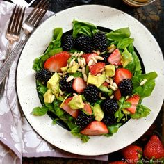 Strawberry Avocado Salad with Blackberries & Pine Nuts ciaochowbambina.com