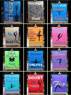 Items similar to Custom Inspirational Cheerleading, Gymnastics, Dance, and Tumbling Wall Art Canvas Painting on Etsy Dance Team Gifts, Cheer Gifts, Cheer Dance, Dance Comp, Gymnastics Room, Gymnastics Quotes, Gymnastics Stuff, Volleyball Quotes, Gymnastics Crafts