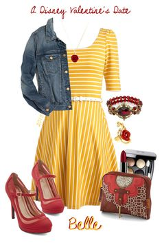 A Disney Valentine's Date ~ Belle ~ 2015 by snowj on Polyvore featuring polyvore…
