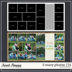 Sweet Shoppe Designs :: 2 Page Layout Templates :: 2 Many Photos 174 by Janet Phillips Scrapbook Layout Sketches, 12x12 Scrapbook, Scrapbook Templates, Scrapbook Designs, Travel Scrapbook, Scrapbook Paper Crafts, Scrapbooking Layouts, Digital Scrapbooking, Pocket Scrapbooking