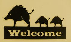 Javelina Welcome sign Metal Art Office Business by BKcreations1