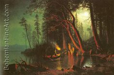 Albert Bierstadt, Lake Tahoe, Spearing Fish by Torchlight Fine Art Reproduction Oil Painting