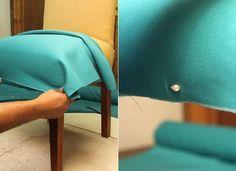 Fotos: Passo a passo: Aprenda a fazer uma capa para renovar sua cadeira - 16/06/2016 - UOL Universa Diy Sofa Cover, Couch Covers, Coffee Chairs, Diy Chair, Arts And Crafts, House Design, Crochet, Fabric, Furniture