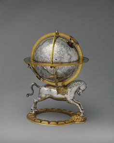 Gerhard Emmoser (German, active 1556-84). Celestial globe with clockwork, 1579. Case: partly gilded silver and gilded brass; Movement: brass and steel. The Metropolitan Museum of Art, New York. Gift of J. Pierpont Morgan, 1917 (17.190.636). #CosmicWonders