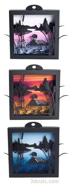 Loon Lake Shadow коробка с 3-х фонов созданных в бумаге.  SVG файлы доступны на…