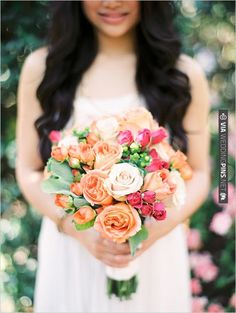 peach and pink rose bouquet by Something Special in Flowers | VIA #WEDDINGPINS.NET