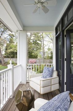 New style change different from the same traditional style. This Transitional Porch with Blue Beadboard Ceiling, Transitional, Porch love the dark stain floor too!