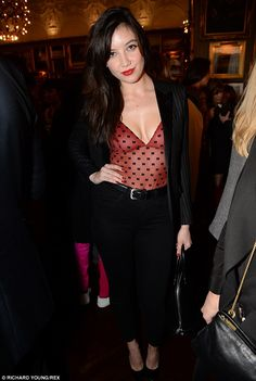 Sheer-ly not: Daisy attended the GQ Christmas lunch wearing a risqué camisole top on Tuesday