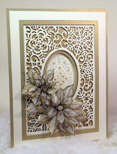 gold & white snowflkes die-cut card by John Lockwood.... would make a beautiful winter wedding card