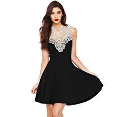 0f4a3b4a27d Europe Sexy Women Dress Crochet Lace Patchwork V Neck Sleeveless Party  Dress Black