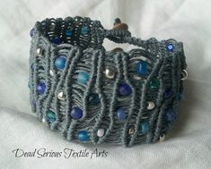Blue Waves Micro Macrame Bracelet by DeadSerious2010 on Etsy, $53.00