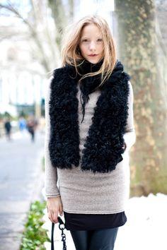 Layering & fluffy scarf #winter #fashion