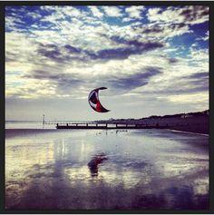 Kitesurfing Bracklesham Beach by Lizzie Reakes
