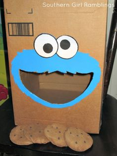 """Feed Cookie Monster"" it involved creating a box w a Cookie Monster head on it, mouth cut out to be where the kids threw in the cookies."